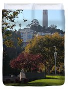 San Francisco Coit Tower At Levis Plaza 5D26217 Duvet Cover by Wingsdomain Art and Photography