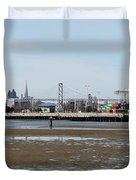 San Francisco Skyline And The Bay Bridge Through The Port Of Oakland 5d22238 Duvet Cover by Wingsdomain Art and Photography