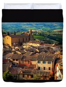 San Gimignano From Above Duvet Cover by Inge Johnsson