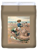 Sand Castles At The Beach Duvet Cover by Unknown