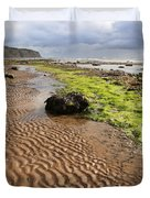 Sand patterns on Robin Hoods Bay beach Duvet Cover by Deborah Benbrook