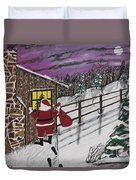 Santa Claus Is Watching Duvet Cover by Jeffrey Koss