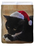 Santa Kitty Duvet Cover by Cheryl Young