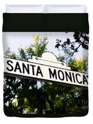 Santa Monica Blvd Street Sign In Beverly Hills Duvet Cover by Paul Velgos