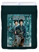 Scottish Terrier Art Canvas Print - Sherlock Holmes Movie Poster Duvet Cover by Sandra Sij