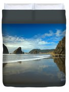 Sea Stacks In Blue Duvet Cover by Adam Jewell