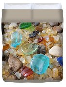 Seaglass Art Prints Agates Petrified Wood Duvet Cover by Baslee Troutman