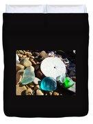 Seaglass Art Prints Rock Garden Sand Dollar Duvet Cover by Baslee Troutman