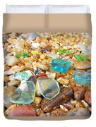 Seaglass Coastal Beach Rock Garden Agates Duvet Cover by Baslee Troutman