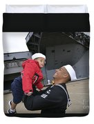 Seaman Greets His Son Duvet Cover by Stocktrek Images