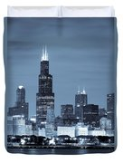 Sears Tower In Blue Duvet Cover by Sebastian Musial