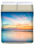 Seascape Sunset Duvet Cover by Adrian Evans