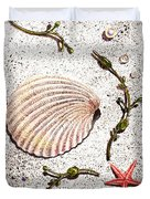 Seashell Sea Star And Pearls On The Beach Duvet Cover by Irina Sztukowski