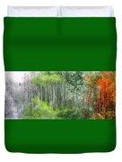 Seasons Of The Aspen Duvet Cover by Carol Cavalaris