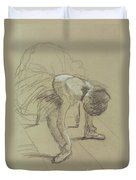 Seated Dancer Adjusting Her Shoes Duvet Cover by Edgar Degas