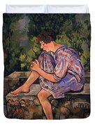 Seated Young Woman Duvet Cover by Marie Clementine Valadon