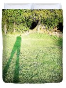 Selfie shadow Duvet Cover by Les Cunliffe