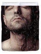 Sensual Portrait Of Man Face Under Shower Duvet Cover by Oleksiy Maksymenko