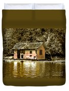 Sepia Floating House Duvet Cover by Robert Bales