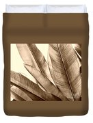 Sepia Leaves Duvet Cover by Cheryl Young