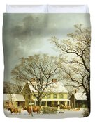 Seven Miles to Salem Duvet Cover by George Henry Durrie