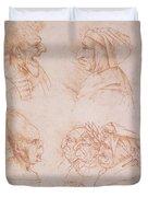 Seven Studies Of Grotesque Faces Duvet Cover by Leonardo da Vinci