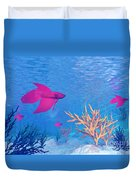 Several Red Betta Fish Swimming Duvet Cover by Elena Duvernay