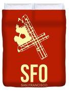Sfo San Francisco Airport Poster 2 Duvet Cover by Naxart Studio