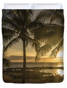 Sharks Cove Sunset 2 - Oahu Hawaii Duvet Cover by Brian Harig