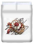 She Dreams In Chocolate And Strawberries Duvet Cover by Andee Design