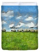 Sheep Herd Duvet Cover by Ayse Deniz