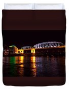 Shelby Street Bridge At Night Duvet Cover by Dan Sproul
