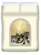 Shepherds And Angel Duvet Cover by Miles Birkett Foster