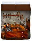 Shoemaker - The Cobblers Shop Duvet Cover by Mike Savad