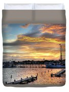 Shrimp Boats At Sunset Duvet Cover by Benanne Stiens