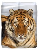 Siberian Tiger Face To Face Duvet Cover by Jerry Fornarotto