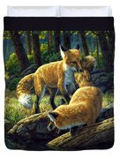 Red Foxes - Sibling Rivalry Duvet Cover by Crista Forest