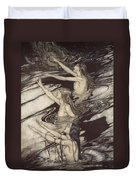 Siegfried Siegfried Our Warning Is True Flee Oh Flee From The Curse Duvet Cover by Arthur Rackham