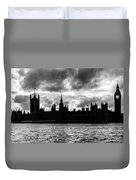 Silhouette Of  Palace Of Westminster And The Big Ben Duvet Cover by Semmick Photo
