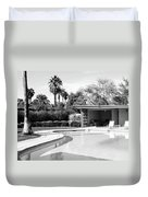 Sinatra Pool And Cabana Bw Palm Springs Duvet Cover by William Dey