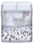 Skating Rink Central Park New York Duvet Cover by Judy Joel
