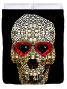 Skull Art - Day Of The Dead 3 Stone Rock'd Duvet Cover by Sharon Cummings