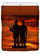 Sky Fire - 73rd Ny Infantry Fourth Excelsior Second Fire Zouaves-a1 Sunrise Autumn Gettysburg Duvet Cover by Michael Mazaika