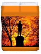 Sky Fire - Flames Of Battle 50th Pennsylvania Volunteer Infantry-a1 Sunset Antietam Duvet Cover by Michael Mazaika