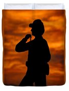 Sky Fire - Flames Of Battle 7th Pennsylvania Reserve Volunteer Infantry-a1 Sunset Antietam Duvet Cover by Michael Mazaika