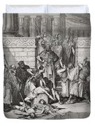 Slaughter Of The Sons Of Zedekiah Before Their Father Duvet Cover by Gustave Dore