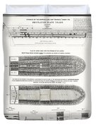 Slave Ship Middle Passage Stowage Diagram  1788 Duvet Cover by Daniel Hagerman