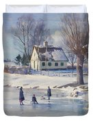 Sledging on a Frozen Pond Duvet Cover by Peder Monsted