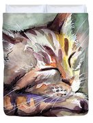 Sleeping Kitten Duvet Cover by Olga Shvartsur
