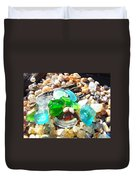 Smiley Face Beach Seaglass Blue Green Art Prints Duvet Cover by Baslee Troutman
